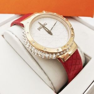 Folli Follie Gold with Crystals, Red Leather Watch